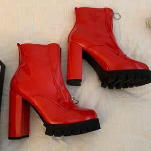 Dolls kill red heel boots